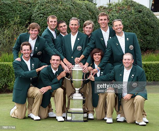 The victorious American team with the Walker Cup Jonathan Moore Billy Horschell Rickie Fowler Colt Knost Chris Kirk Dustin Johnson Kyle Stanley Buddy...