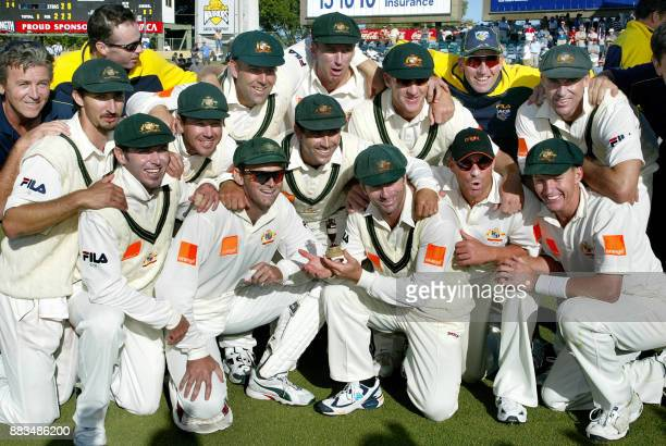 The victorious Australian cricket team are all smiles after their win on day three of the third Ashes Test at the WACA ground in Perth 01 December...