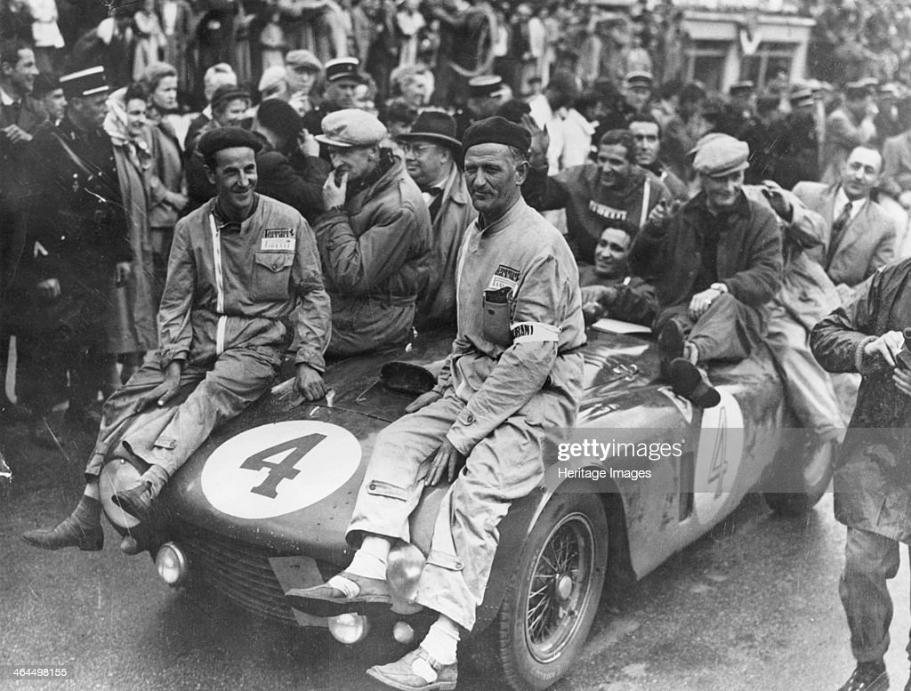 The victorious Ferrari of Froilan Gonzalez and Maurice Trintignant, Le Mans 24 hours, France, 1954. : News Photo