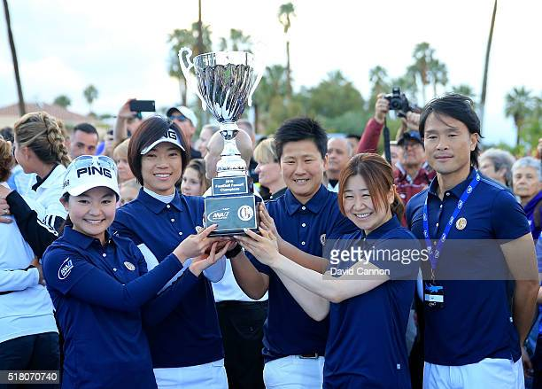 The victorious Japan Team celebrate with the trophy Ayako Uehara Shiho Oyama Ayumi Kaihori and Yayoi Kobayashi during the ANA Footgolf Faceoff...