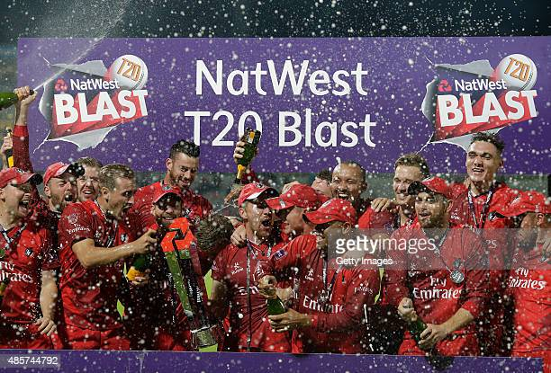 The victorious Lancashire team with the trophy after they beat Northamptonshire in the NatWest T20 Blast Final at Edgbaston on August 29 2015 in...