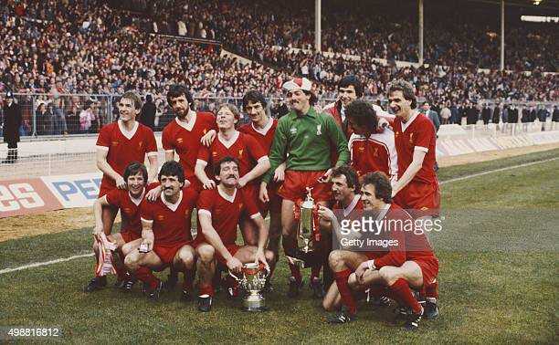 The victorious Liverpool team pose after their 31 victory over Tottenham Hotspur to win the 1982 Milk Cup Final at Wembley Stadium on March 13 1982...