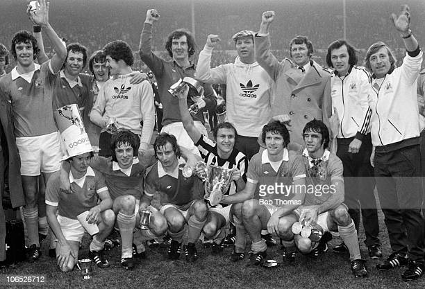 The victorious Manchester City team with the League Cup after their 21 victory over Newcastle United at Wembley Stadium London on 28th February 1976...