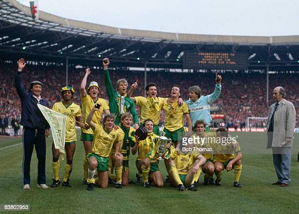 The victorious Norwich City team after beating Sunderland 1-0 in the League Cup Final, sponsored by the Milk Marketing Board, at Wembley Stadium,...