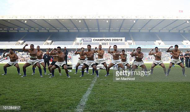 The victorious Samoan team preform a traditional dance called a minu siba tau at the the IRB Edinburgh Sevens Festival at Murrayfield Stadium on May...