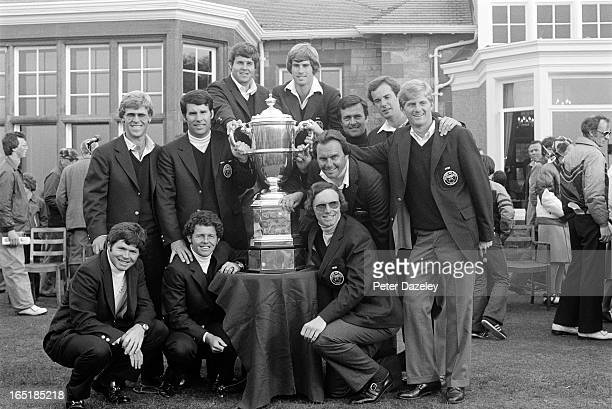 The victorious United States Team during the final day of the 1979 Walker Cup Matches at the Honourable Company of Edinburgh Golfers Muirfield on May...