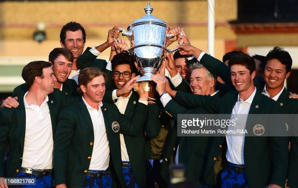 The victorious United States team pose with the Walker Cup trophy at the closing ceremony during day 2 of the Walker Cup at Royal Liverpool Golf Club...