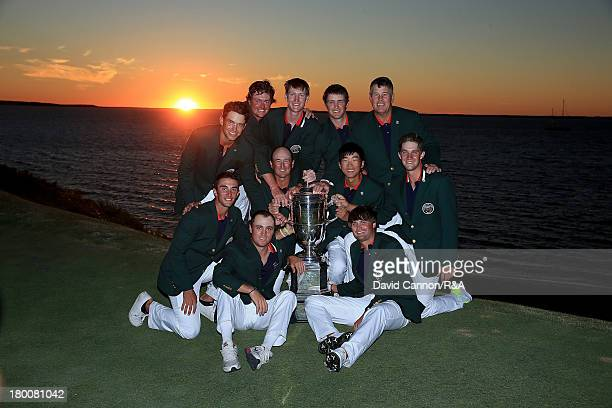 The victorious United States Walker Cup team with the trophy at the closing ceremony after they had won the match by seventeen points to nine in the...