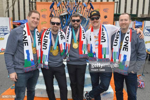 The victorious USA men's curling team joins fans at the Cheetos footprint at the Bank of America Winter Village at Bryant Park to celebrate their big...