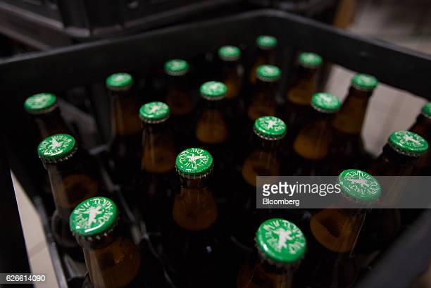 The Victory Art Brew logo sits on the top of bottled beer in crates at the Victory Art Brew craft brewery in Ivanteevka Russia on Friday Sept 2 2016...