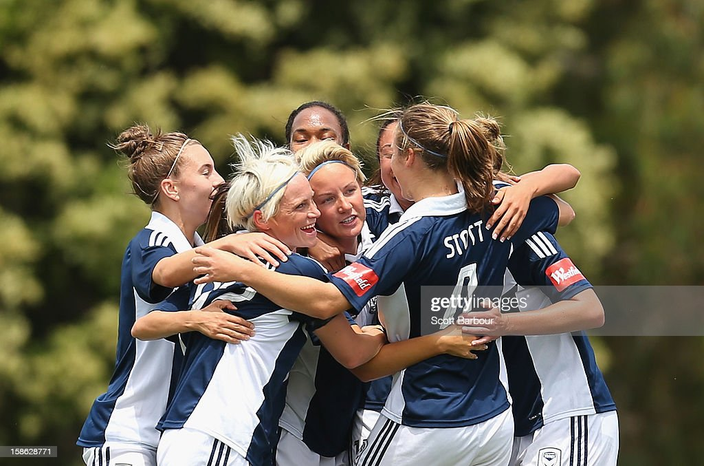 The Victory celebrate after Petra Larsson scored her teams first goal during the round 10 W-League match between the Melbourne Victory and the Western Sydney Wanderers at Wembley Park on December 22, 2012 in Melbourne, Australia.
