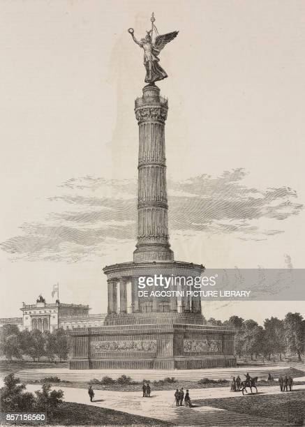 The Victory Column Berlin Germany illustration from Nuova illustrazione Universale Year 1 No 2 December 21 1873