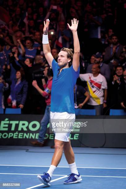 The victory of Lucas Pouille of the Davis Cup is photographed for Paris Match on november 26 2017 in Lille France