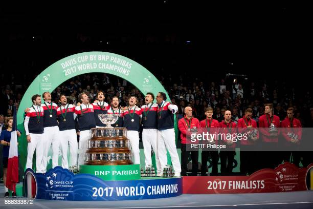 the victory of Lucas Pouille of the Davis Cup the french team with Gilles Simon Nicolas Mahut Jeremy Chardy Julien Benneteau PierreHugues Herbert...