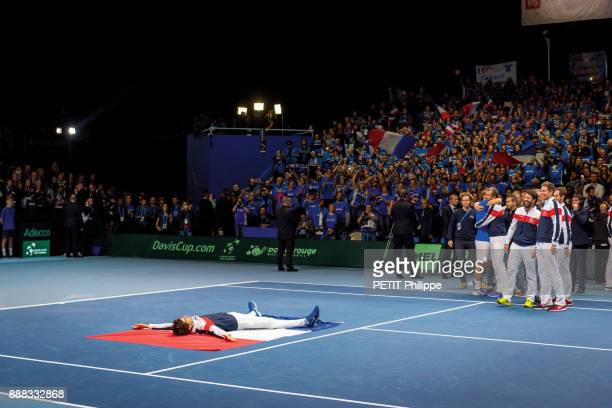 the victory of Lucas Pouille of the Davis Cup with PierreHugues Herbert Lucas Pouille and Julien Benneteau are photographed for Paris Match on...