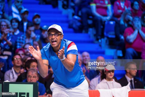 the victory of Lucas Pouille of the Davis Cup Yannick Noah is photographed for Paris Match on november 26 2017 in Lille France