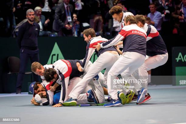 the victory of the french team of the Davis Cup with Gilles Simon PierreHugues Herbert Richard Gasquet Yannick Noah JoWilfried Tsonga and Lucas...