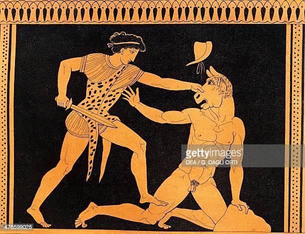 The victory of Theseus over the Minotaur illustration from Collection des vases grecs de le Comte de M Lamberg Paris 18131824 by Alexandre de Laborde...