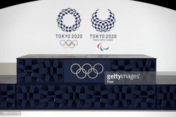 The Victory podium that will be used during the victory ceremonies at the Tokyo 2020 Olympic Games is displayed during an unveiling event for the...