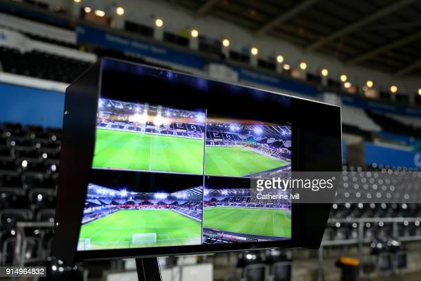 The Video Assistant Referee shows a general view inside the stadium prior to The Emirates FA Cup Fourth Round match between Swansea City and Notts...