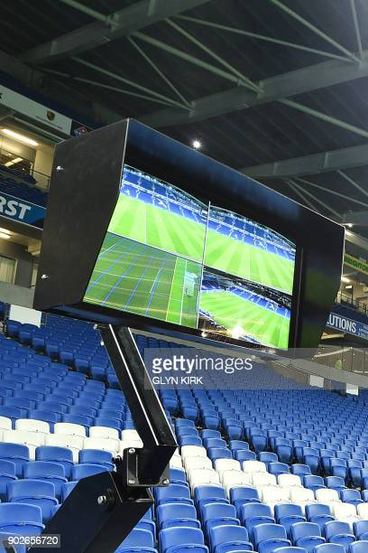 The Video Assistant Referee system pitchside is pictured prior to its use during the English FA Cup third round football match between Brighton and...