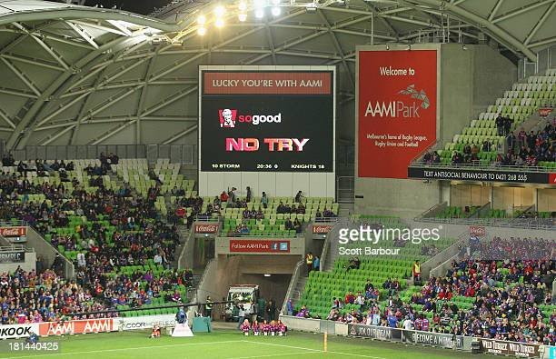 The video referee rules no try on the big screen during the NRL Second Semi Final match between the Melbourne Storm and the Newcastle Knights at AAMI...