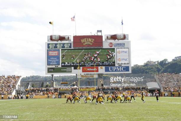 The video scoreboard shows the action on the field as the Cincinnati Bengals play the Pittsburgh Steelers at Heinz Field on September 24 2006 in...