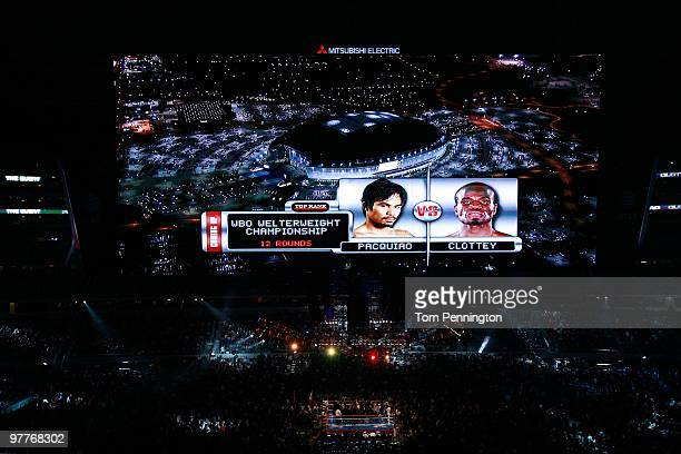 The video screen previews the fight between Manny Pacquiao of the Philippines and Joshua Clottey of Ghana before their WBO welterweight title fight...