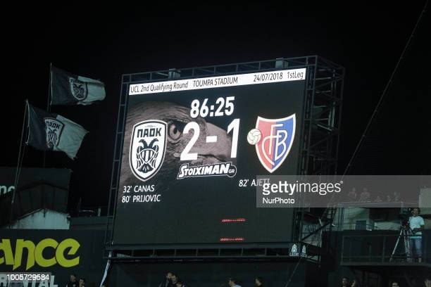 The video screen shows the final result of the Champions League second qualifying round first leg football match between PAOK FC and FC Basel at the...