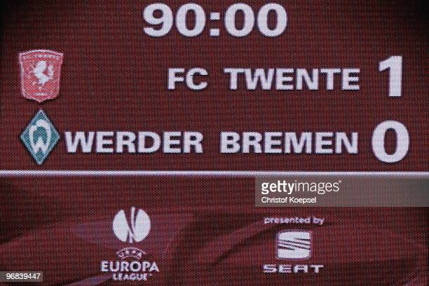 The video screen shows the The match between and ended of the UEFA Europa League knockout round first leg match between FC Twente Enschede and SV...