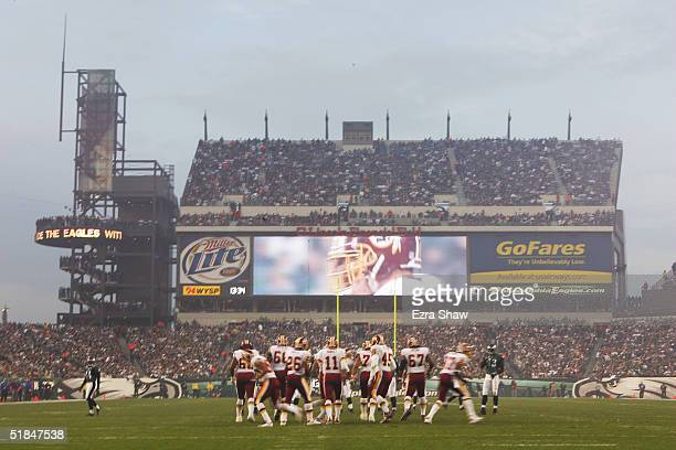 The videoboard shows the action during the game between the Washington Redskins and the Philadelphia Eagles at Lincoln Financial Field on November 21...