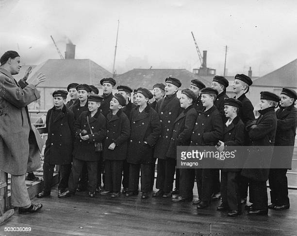 The Vienna Boys Choir on their arrival in Plymouth 8th March 1935 Photograph