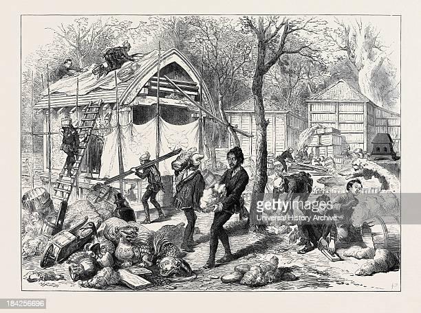 Japanese Workmen Building A Japanese Village 1873