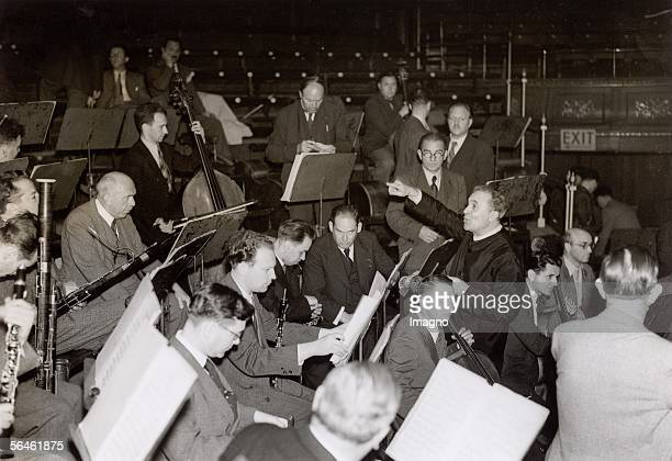 The Viennese philharmonic Orchestra during rehearsals under the direction of Bruno Walter in the Queens Hall in London England Photography 1937 [Die...