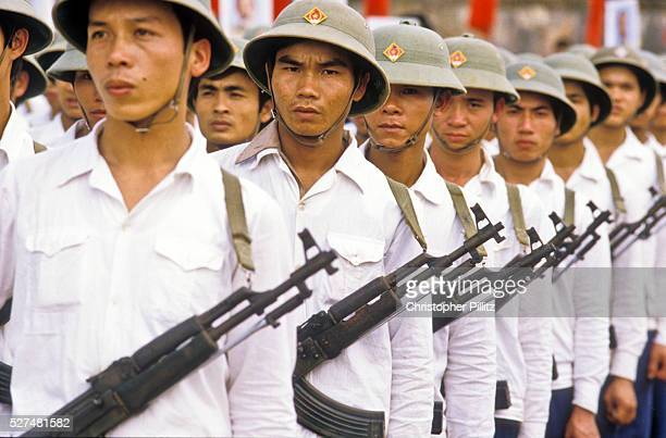 The Vietnamese army parades their wares during the celebrations marking the 10th anniversary of the country's defeat of the America army in the...