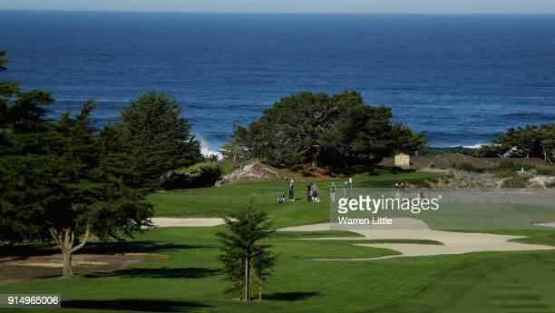 The view across Spyglass Hill Golf Course as players practice ahead of the ATT Pebble Beach ProAm on February 6 2018 in Pebble Beach California