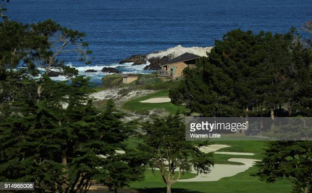 The view across Spyglass Hill Golf Course as players practice ahead of the ATT Pebble Beach ProAm on February 6 2018 in Pebble Beach California
