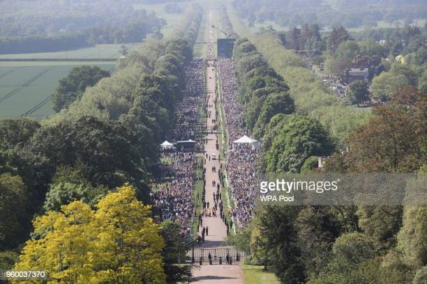 The view along the Long Walk as spectators gather ahead of the wedding of Prince Harry and Meghan Markle at Windsor castle on May 19, 2018 in...