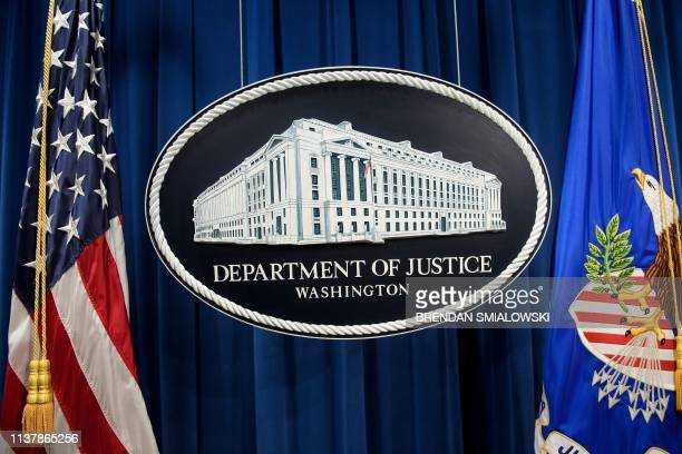 The view before US Attorney General William Barr holds a press conference about the release of the Mueller Report at the Department of Justice April...