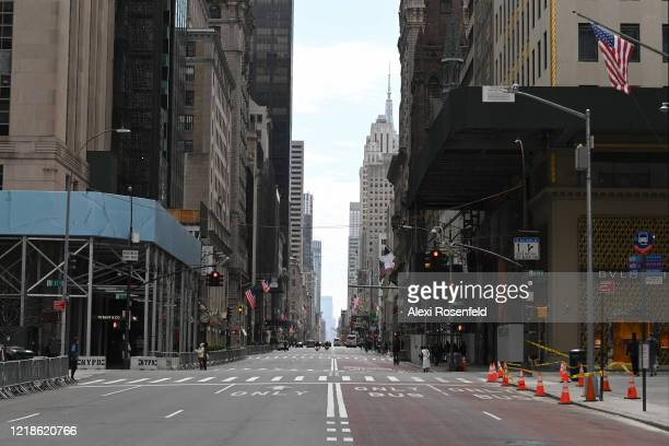 The view down an empty Fifth Avenue on Easter Sunday amid the coronavirus pandemic on April 12 2020 in New York City United States COVID19 has spread...