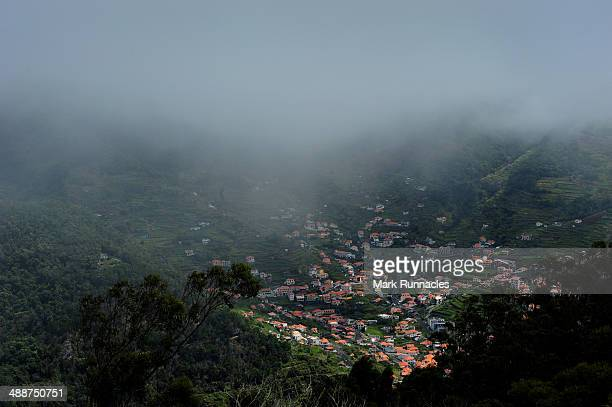 The view down the mountain from the 4th tee shows the complex Island of Madeira micro-climate, as mist and cloud delayed the start of the Madeira...