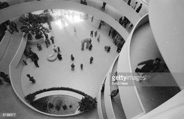 The view downwards from the top of the Solomon R Guggenheim Museum in New York, designed by Frank Lloyd Wright.