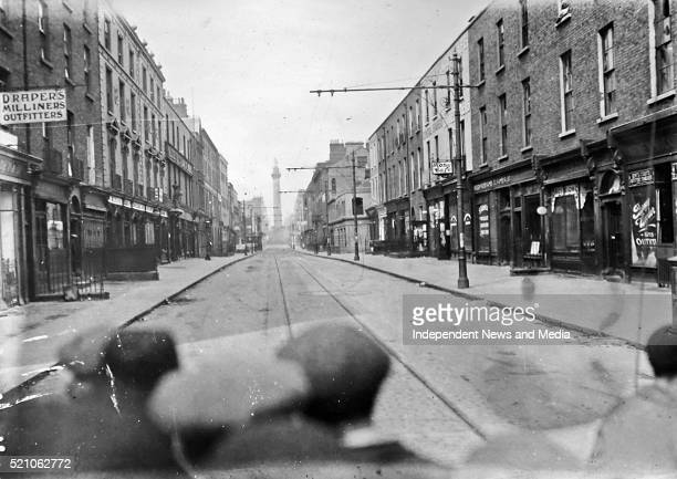 The view from a barricade on Talbot St during the outbreak of the Civil War Circa 1922 Note the view towards the Nelson Pillar