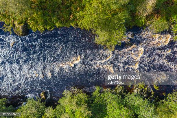 the view from a drone of a river in remote rural dumfries and galloway - johnfscott stock pictures, royalty-free photos & images