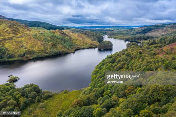 the view from a drone of a scottish loch and woodland in dumfries and galloway on an overcast day - johnfscott stock pictures, royalty-free photos & images