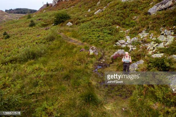 the view from a drone of an active retired man standing beside a footpath looking at a map in a remote part of dumfries and galloway in south west scotland - johnfscott stock pictures, royalty-free photos & images