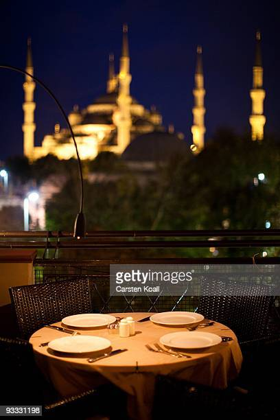 The view from a restaurant to the Blue Mosque, Sultanahmet Camii, on October 17, 2009 in Istanbul, Turkey. The Turkish metropolis on the Bosphorus,...