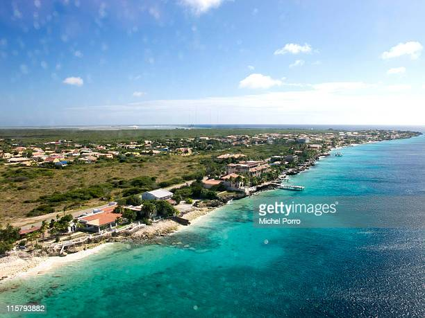 The view from an airplane on January 27, 2011 of the island of Bonaire. Bonaire has earned a reputation for being one of the most environmentally...
