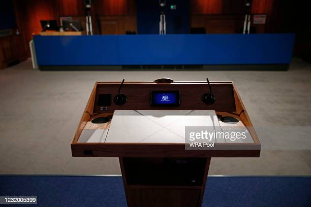 The view from behind the lectern inside the new £2.6million No9 briefing room ahead of an update by Britain's Prime Minister Boris Johnson on the...