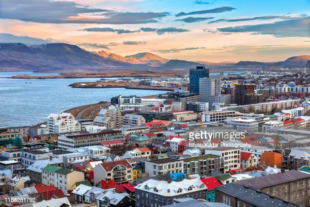 the view from hallgrimskirkja church in reykjavik, iceland - reykjavik stock pictures, royalty-free photos & images